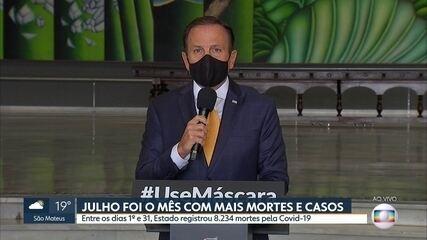 Julho foi o mês com mais mortes e casos de Covid-19 em São Paulo