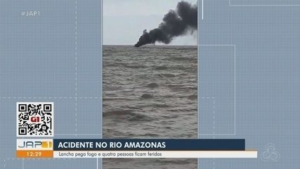 Ocupantes de lancha sofrem queimaduras após embarcação pegar fogo no Rio Amazonas