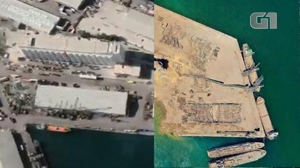 Veja, em arte, o antes e o depois da explosão na zona portuária de Beirute