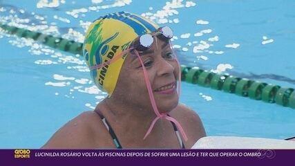 Detentora de títulos e recordes na natação Lecinilda volta aos treinos após cirurgia