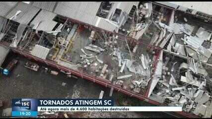 Tornados e temporal causam estragos em cidades de SC