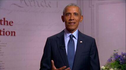 Nos Estados Unidos, o ex-presidente Barack Obama fala na convenção do Partido Democrata