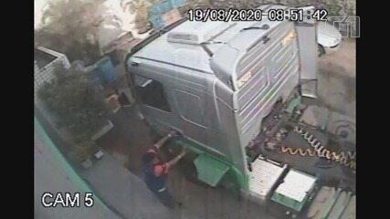 Câmeras de segurança registraram furto de caminhão em São Vicente, SP