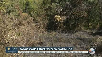Balão com fogos de artifício cai em área verde de Valinhos e causa incêndio