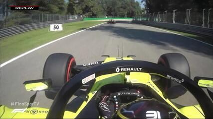 Ocon reclama no rádio durante treino do GP da Itália