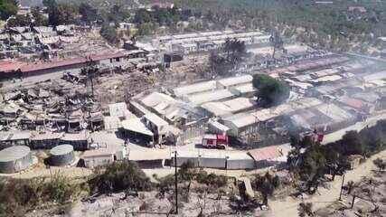 Incêndio atinge campo superlotado de migrantes na Grécia