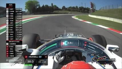 Russell foge da pista no treino oficial do GP da Toscana