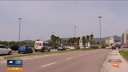 Obras na SC-401 provoca congestionamentos em Florianópolis