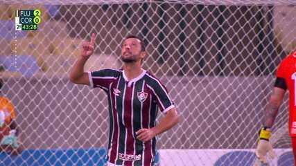 Gol do Fluminense! Nenê cobra pênalti com força e amplia, aos 43 do 2º tempo