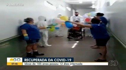 Vídeo mostra idosa de 105 anos saindo de hospital após se recuperar da Covid-19 em Goiás