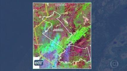 Imagens de satélites mostram o avanço das queimadas em áreas de preservação em Mato Grosso