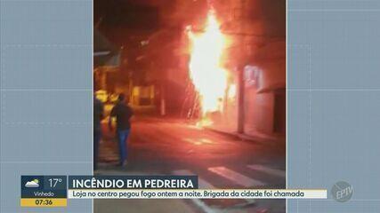 Incêndio atinge loja de manutenção de eletrodomésticos no Centro de Pedreira