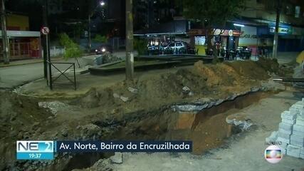 obra provoca interdição de trrecho da Avenida Norte, na Encruzilhada