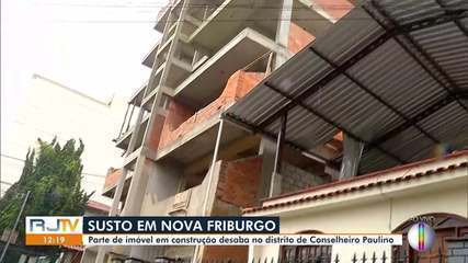 Parte de prédio em construção desaba no distrito de Conselheiro Paulino, em Nova Friburgo