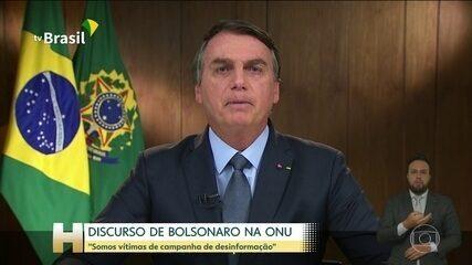 Bolsonaro defende a política do governo brasileiro em relação à pandemia e meio ambiente