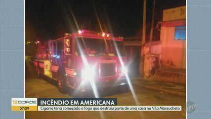 Incêndio atinge casa e mobiliza o Corpo de Bombeiros em Americana