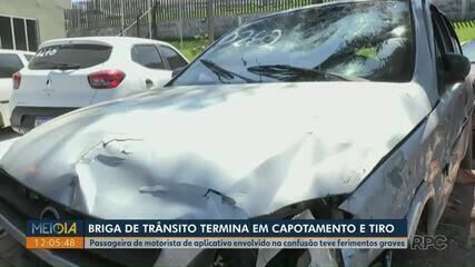 Briga de trânsito termina com capotamento e tiro em Ponta Grossa