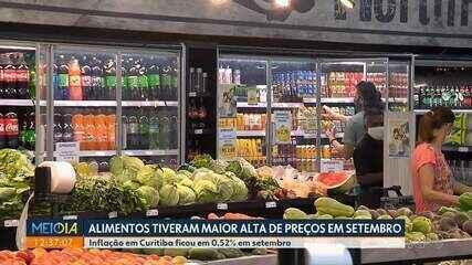 Inflação ficou em 0,52% em setembro em Curitiba