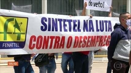 Protesto no DF cobra fim do veto à prorrogação da desoneração da folha de pagamentos