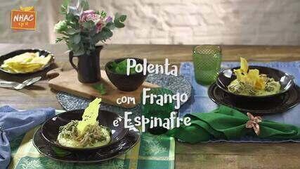 Polenta com espinafre, frango e pesto da Rita Lobo