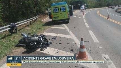 Motociclista bate de frente com carro em rodovia de Louveira e é socorrido pelo Águia