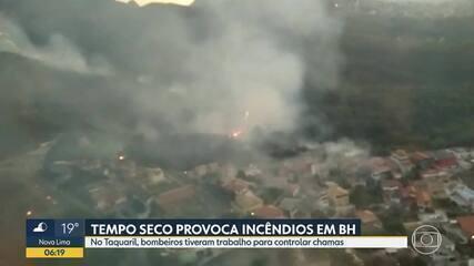 Bombeiros combatem incêndio em mata na região do Taquaril