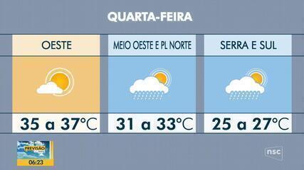 Veja a previsão do tempo para esta quarta-feira em SC