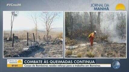 Bombeiros reforçam o trabalho de combate às queimadas em Barreiras, na oeste da Bahia