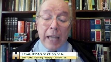 O Ministro Celso de Mello se despediu das sessões do STF