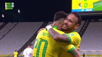 Gol do Brasil! Neymar cruza e Firmino, sozinho, desvia no meio das canetas de Lampe, aos 3 do 2º tempo