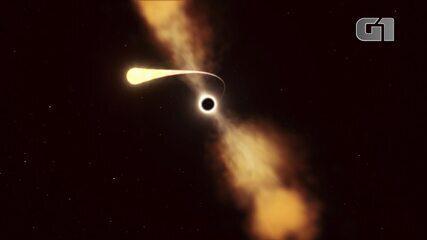 Concepção artística de uma estrela sendo desfeita por forças de maré exercidas por um buraco negro