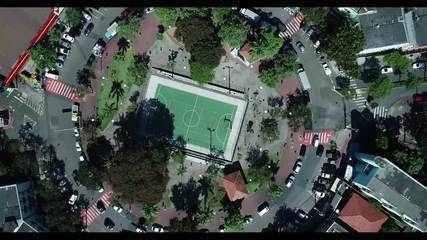 Imagem aérea de uma das pracinhas de Jardim da Penha