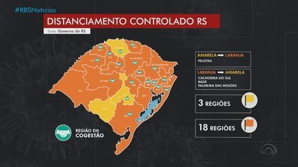 Mapa provisório do distanciamento controlado tem três regiões com bandeira amarela no RS