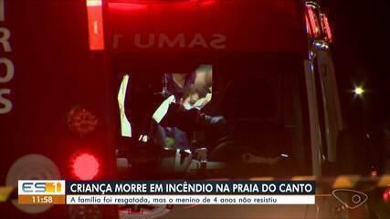 Criança de 4 anos morreu após incêndio em prédio na Praia do Canto, em Vitória