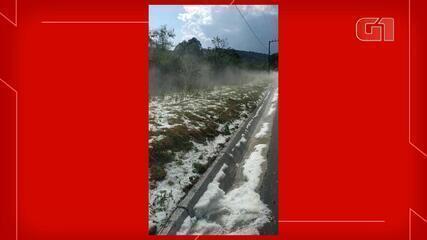 Granizo atinge município do Oeste de SC e causa prejuízo em plantações