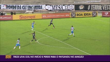 Paysandu faz gol relâmpago e derrota o Treze, em Campina Grande