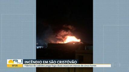 Fábrica de cabides e manequins em São Cristóvão pega fogo duas vezes no mesmo dia