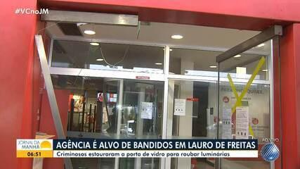 Ladrões atacam agência bancária em Lauro de Freitas para roubar equipamentos de iluminação