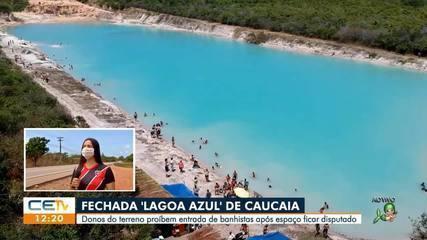 'Lagoa azul' de Caucaia fica em terreno privado e tem entrada proibida por proprietários