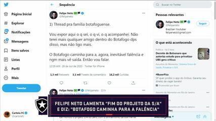 Torcedor do Botafogo, Felipe Neto faz desabafo sobre momento atual do clube e mesa discute