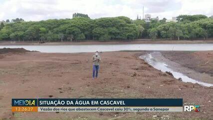 Lago Municipal de Cascavel está com o nível de água mais baixo da história