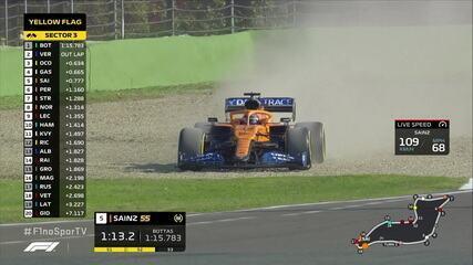 Sainz escapa, mas consegue controlar o carro no treino livre