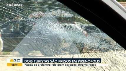 Casal é preso suspeito de danificar carro da prefeitura e ameaçar agentes de Pirenópolis