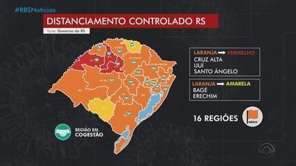 RS tem três regiões com bandeira vermelha no mapa de distanciamento controlado