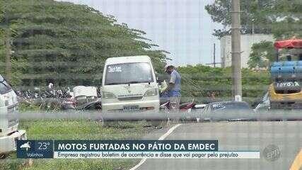 Motos são furtadas de dentro do pátio da Emdec em Campinas