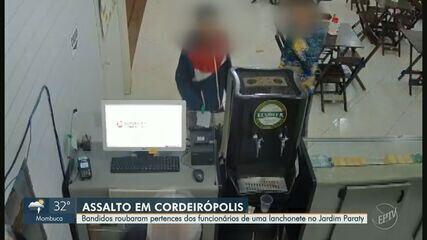 Câmeras de segurança registram assalto em lanchonete de Cordeirópolis