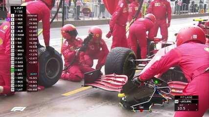 Leclerc faz o pit stop e coloca pneus intermediários no GP da Turquia