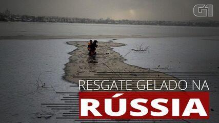 Cão é resgatado de lago congelado na Rússia