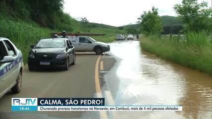 Mais de 4 mil pessoas são afetadas pela chuva em Cambuci, no RJ