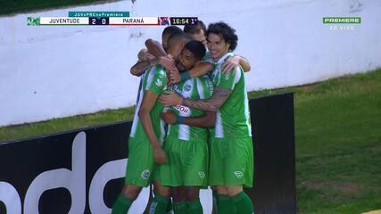 Gol do Juventude! Igor cobra escanteio e Rafael Silva marca de cabeça, aos 16' do 1T